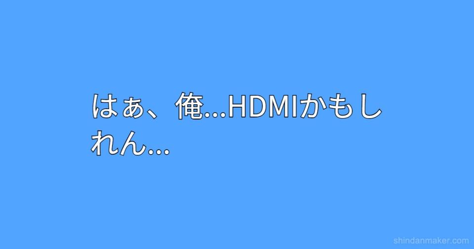 はぁ、俺...HDMIかもしれん...